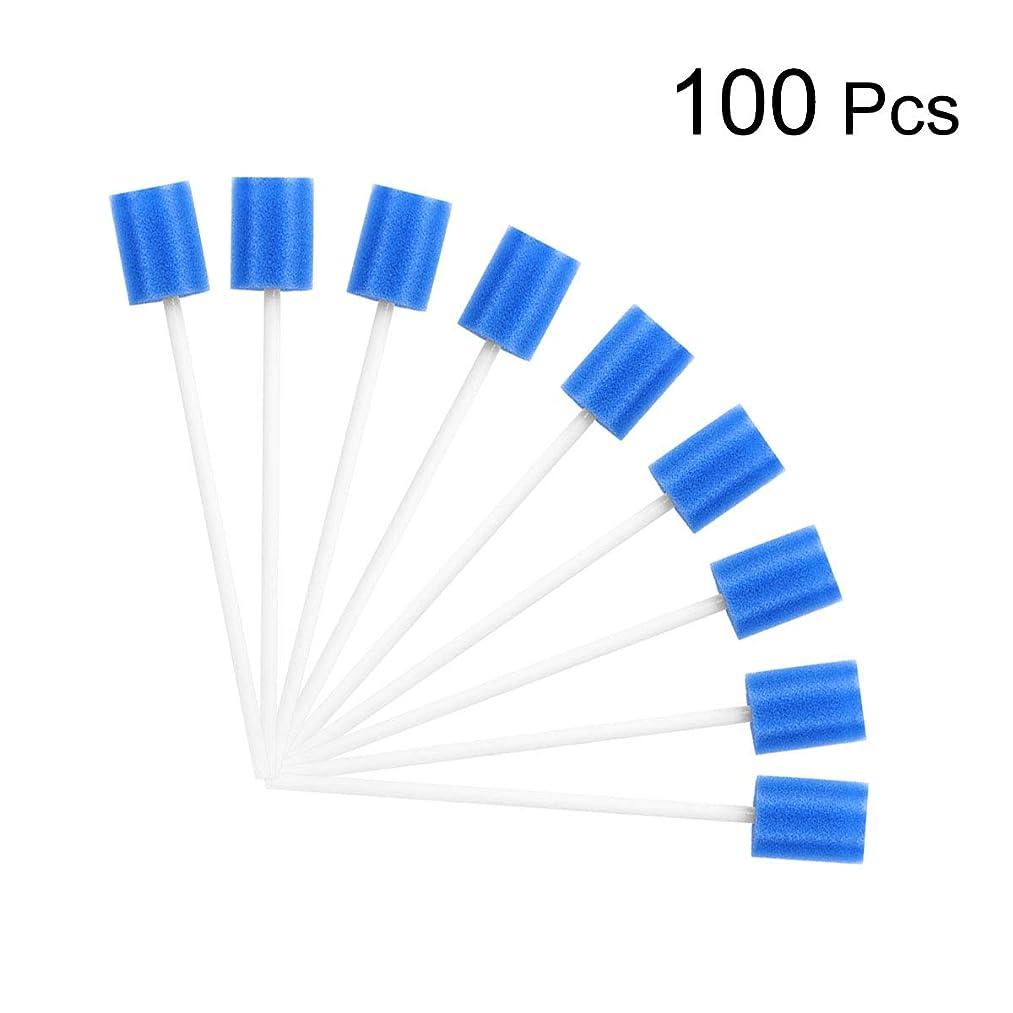レバー調整可能失態ROSENICE 使い捨てスポンジスティック口腔スポンジクリーニングスワブオーラルケア100個(青)