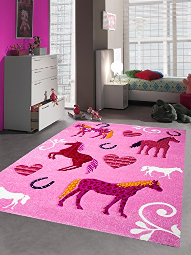 Kinderteppich Spielteppich Kinderzimmer Teppich Pferd Design mit Konturenschnitt Pink Creme Rot Orange Gelb Schwarz Größe 160x230 cm
