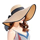 Women's Folable Floppy Hat,Wide Brim Sun Protection Straw Hat, Summer UV Protection Beach Cap (C1-E-Khaki)