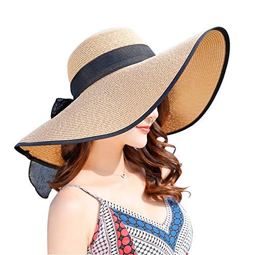 Women's Folable Floppy Hat,Wide Brim Sun Protection Straw Hat, Summer UV Protection Beach Cap (C1-E-Khaki)