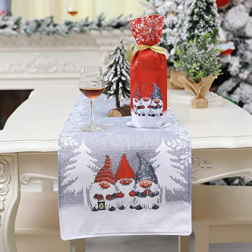 """JXCH Christmas Gnome Table Runner Merry Christmas Tree Snowflake Santa Plaid Table Runner Holiday Christmas Table Centerpieces Decorations Indoor for Family Dinners Party Supplies Gray 13""""x 72"""""""
