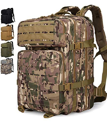 Doshwin Zaino Militare Tattico Molle Army US Assault Pack Military Tactical Backpack da Trekking Escursionismo Viaggio per Donna Uomo (Taglio Laser) / 40L (CP)
