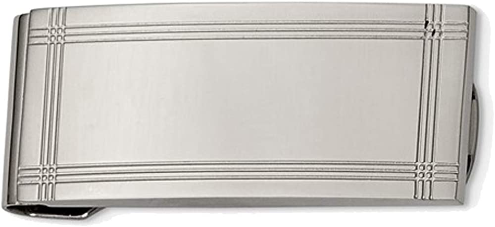Mens Chisel Money Clip in Polished and Grooved Stainless Steel