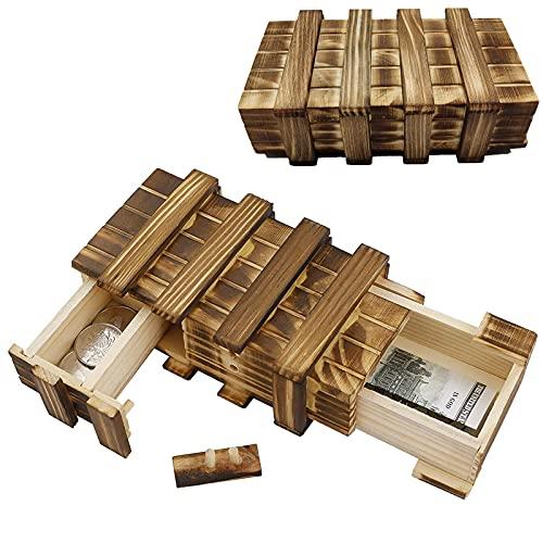 Magische hölzerne Geschenkbox Holz Geheimbox Magische Rätselbox Geheimfach Box Puzzle Box Holz Geschenkbox mit 2 Geheimfächern zum Verschenken von Schmuck Geld für Hochzeit Geburtstag Geschenk