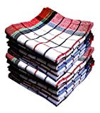 Qualcosa Kitchen - Cleaning Cloth Multipurpose Kitchen Towels Cotton Dish Napkin - Machine Washable - Multi Coloured Checked Dish Towels, Tea Towels, Table Cloth 18x18 Inch - Pack of 12