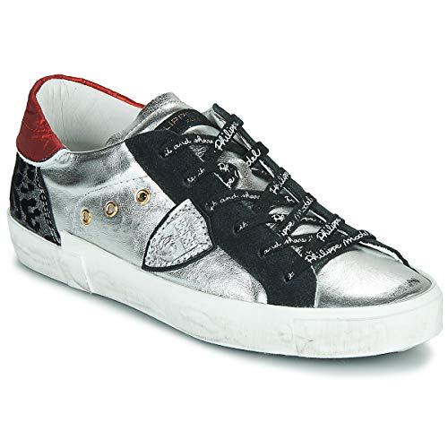 Philippe Model Paris X Modische Sneaker, für Damen, Schwarz/Silber/Leopard, niedrige Schuhe, Mehrfarbig - Schwarz, Silber, Leopard - Größe: 36 EU