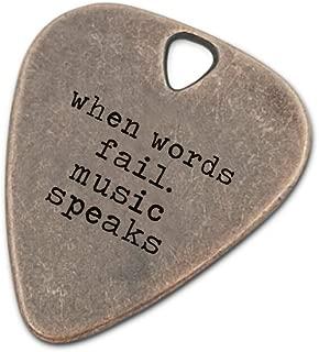 Guitar Pick Engraved Musician Gift Custom Boyfriend Girlfriend Accessories Anniversary Gift For Dad When words fail Music Speak (Copper When Words Fail Music Speaks)