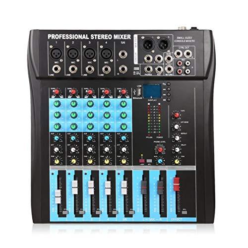 CT6 6 canales profesional mezclador estéreo Procesador de efectos vocales de la consola de audio en vivo con entrada estéreo mono 4 canales y 2 canales