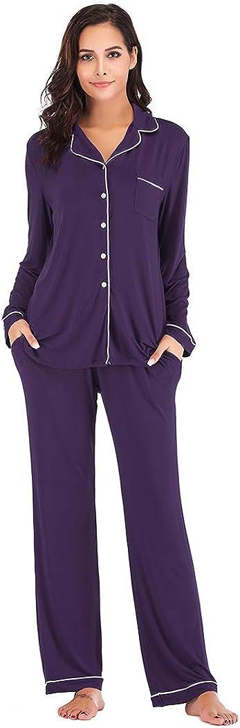 Nuofengkudu Pajamas Max 85% OFF Philadelphia Mall Set Long Sleeve Down Sleepwear Womens Button