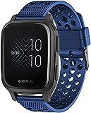 SkyBand Respirable Deporte Silicona Clásico Correas Compatible para Smartwatch Garmin Venu Sq (Azul)