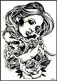 GS912 Tattoo 8.2''X5.7'' Beautiful women hug skull roses Large Temporary Tattoos 3D for men women Designs Body Fake Tattoo Cartoon Sticker Paper Style Vintage Old School Tattoo (13)
