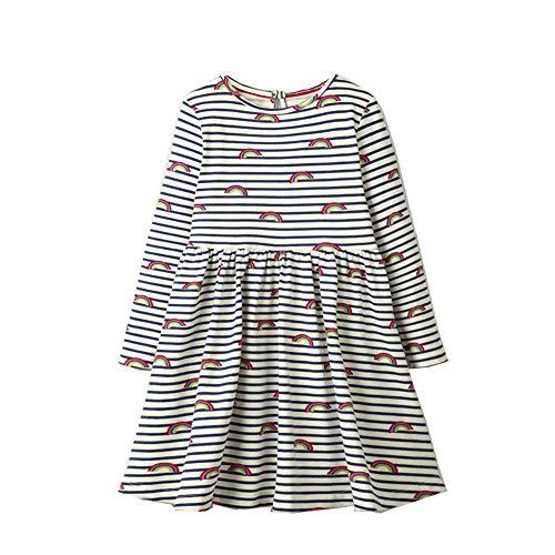 BeedooDoobee Vestido de manga larga para niñas de 2 a 7 años - - 5 años