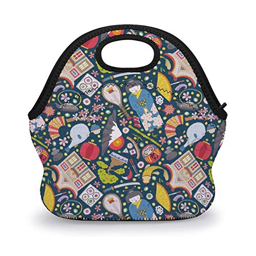 Lunch Bag, Tokyo Traditional Japaneses with Koi Carp Fish Sakura Bonsai Geisha, Multicolor Lunch Box Lunch Tote Neoprene Insulated Lunch Bag Meal Bag for School Office