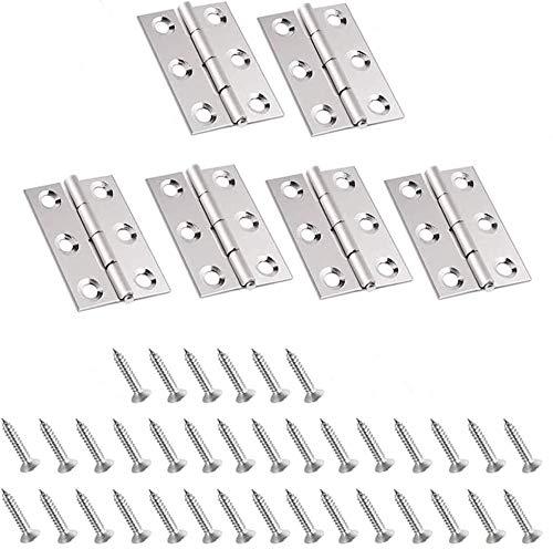6 piezas Bisagra de Acero Inoxidable, Bisagra, Conectores de Bisagra Plegables con Tornillos para Herrajes para Muebles de Hogar para Puertas y cajones.