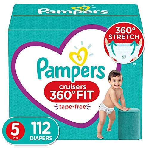 Diapers Size 5 112 Count  Pampers Pull On Cruisers 360° Fit Disposable Baby Diapers with Stretchy Waistband ONE MONTH SUPPLY Packaging May Vary
