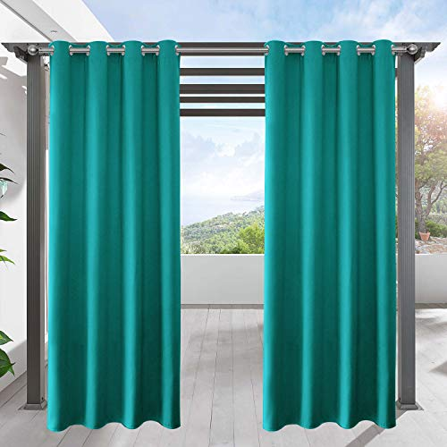LIFONDEROutdoor Curtains for Patio Waterproof - Home Decorative Eyelet Blackout Curtains Pergola Curtains Balcony Drapes for Canopy/Deck/Yard Privacy, Teal, W52 by L95 Inch, 1 Pc