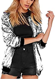 HAWEEL Ladies Loose Sequin Baseball Jacket Windbreaker Jacket