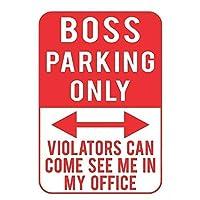 金属錫看板ボス駐車場は、違反者は私のオフィスビンテージホームプラーク塗装壁装飾ボードレトロで私を見ることが来る