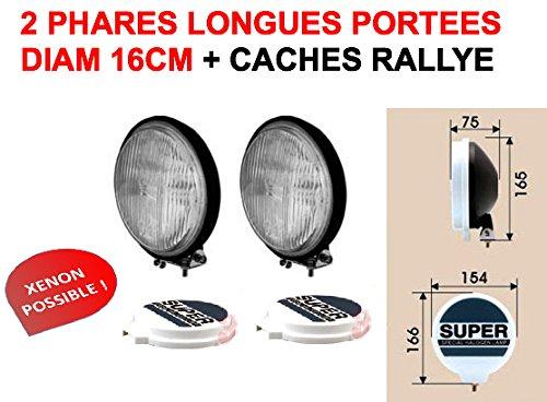 LCM2014 Super Look! 2 Longues PORTEES 16CM Ultra-Fins avec CACHES Rallye Inclus ! Bol Noir Verre Blanc! Xenon Possible! Raid Preparation 4X4 Hella Oscar LIGHTFORCE CIBIE KCLITE