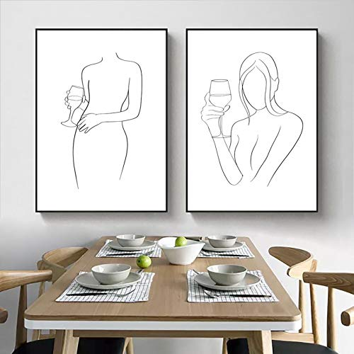 """Impresiones en Lienzo Vino Dibujo artístico Impresión en Blanco y Negro Abstracto Mujer Sexy Amante del Vino Póster Pintura en Lienzo Vino Regalo 11.8 """"x15.7"""" (30x40cm) × 2PCS"""