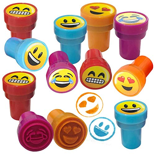 ArtCreativity Emoticon Stampers for Kids, Pack of 24, Pre-Inked Smile Stampers for Children, Emoji Birthday Party Supplies and Favors, Piñata Fillers, Arts n Crafts, Assignment Stamps for Teachers