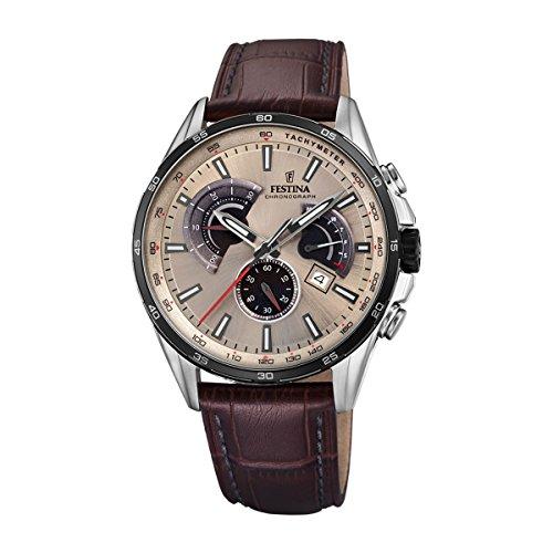 Festina Herren Chronograph Quarz Uhr mit Leder Armband F20201/2