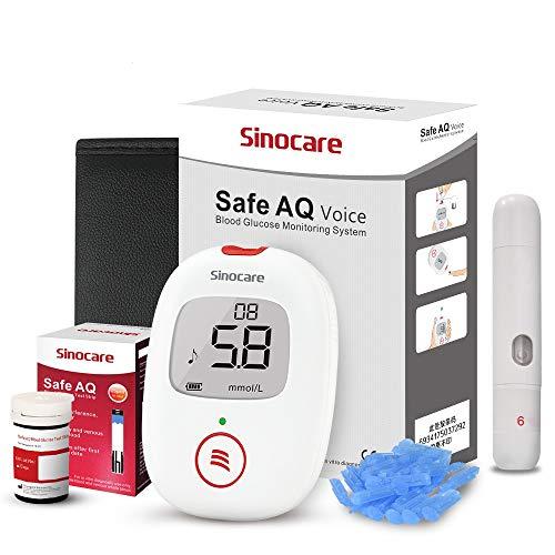 sinocare Blutzuckermessgerät Set mit Teststreifen x 25, Schmerzfrei & Schnell, Wenig Probenvolumen Blutzuckermessgerät (Safe AQ Voice) mg/dL