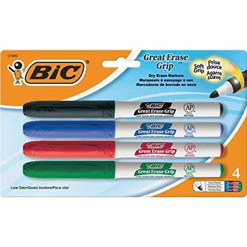 Wholesale case of 25–Bic Great Erase Whiteboard markers-whiteboard Marker, fine Point, 4/PK, nero, blu, rosso, verde