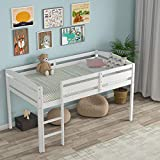 Costzon Loft Bed Twin, Classic Wood Low Loft Bed w/ Guard Rail & Ladder, Kids Loft Bed for Boys, Girls, No Box Spring Needed, Easy Assembly, Children Wood Frame Bunk Bed for Bedroom Guestroom, White