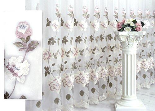 Trendoro 1 Gardine, Gardinenstore Kollektion Diana, aufgestickte Blumen mit Strass in den Blüten, individuelle Größen lieferbar, Ateliergefertigt