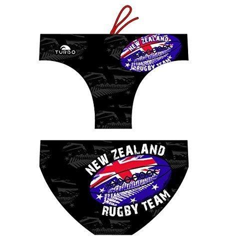 Turbo Rugby New Zealand badpak van Waterpolo, wedstrijd, zwemmen en triatlon-patroon, comfortabele pasvorm