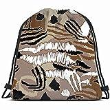 Smalaty Piel Leopardo patrón Animales Vida Silvestre Gimnasio Saco Bolsa Cordón Deporte Playa Viaje Mochila al Aire Libre para Mujeres 17X14 Pulgadas
