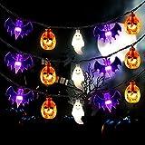 Mosoan Halloween String Lights Battery Operated 20 Feet 30 LED 3D Pumpkin Bat Ghost Lights - 8 Lighting Modes Halloween Decoration Lights for Outdoor Indoor Halloween Party Decorations