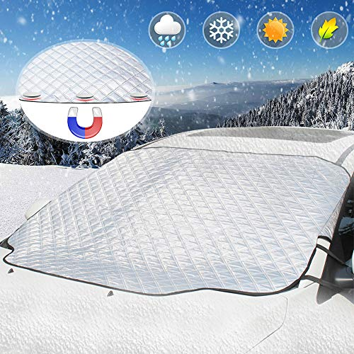 UBEGOOD Windshield Snow Cover, Car Windshield Cover for Ice, Snow and Frost with 4 Layers, Windshield Snow Ice Cover with Magnetic Edges, Fits for Most Standard Cars & CRVs