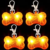 4 Pieces Dogs Collar LED Bone Tag Glow in The Dark Pet Collar ID Tags Waterproof Dog Bone Shaped Tag Light Pet Safety Night Walking Lights for Dogs Camping Night Time Walking, Orange