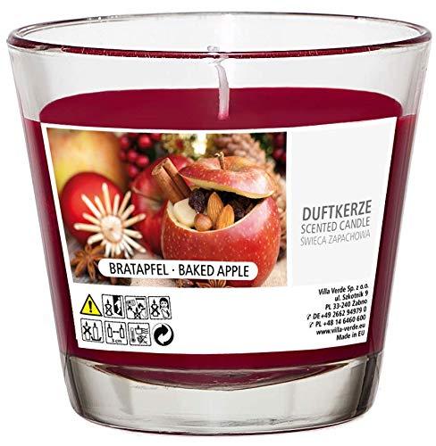 Smart-Planet Kerzen Ambiente - Bratapfel 6er Set Duftkerze im Glas 6 Stück Windlicht - Bratapfel Duft Kerze groß 25 Stunden Lange Brenndauer