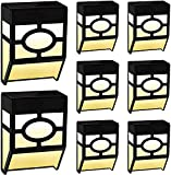 FLOWood Solar Fence Light, 2Modes LED Fence Solar Lights Outdoor for Deck Garden,Yard,Driveway Path,Front Door and Landscape Warm White/Multicolour Changing 8 Pack