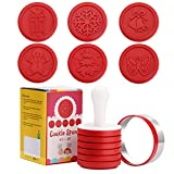 Christmas Silicone Cookie Stamps Set, Include Christmas Bell, Gingerbread Man, Tree, Butterfly, Snowflakes and Gift, Party Novelty DIY Baking Gift Cookies Embossing Mold, 6 Stamp Set (Christmas Red)