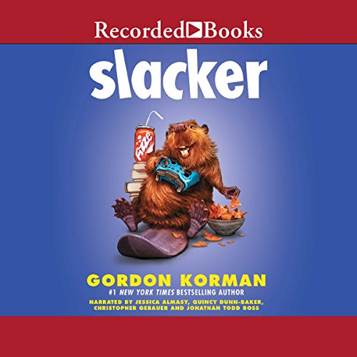 Slacker                   By:                                                                                                                                 Gordon Korman                               Narrated by:                                                                                                                                 Jessica Almasy,                                                                                        Quincy Dunn-Baker,                                                                                        Chirstopher Gebauer,                   and others                 Length: 5 hrs and 34 mins     193 ratings     Overall 4.7