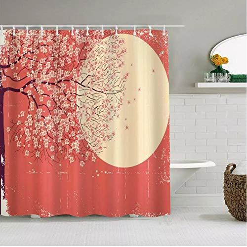 Cortina de ducha con diseño de flor de cerezo y ramas del árbol de Sakura en la luna, japonesa, impermeable, ganchos incluidos