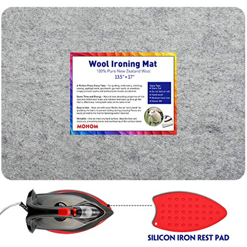 """MOHOM The Professional 100% New Zealand Felted 13.5"""" x 17"""" Wool Pressing Mat 1/2"""" Thick Quilter"""