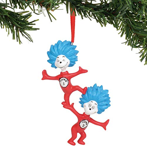 Department 56 Dr. Seuss Cat in The Hat 1 and Thing 2 Hanging Ornament, 4.25...