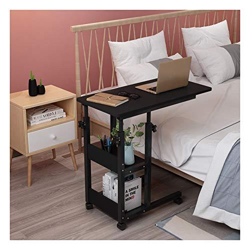 GYHUJI Lazy Mesita de noche mesa de día, mesa de pie móvil, escritorio de ordenador portátil, altura ajustable, adecuado para dormitorio, sala de estar, balcón (color: negro)