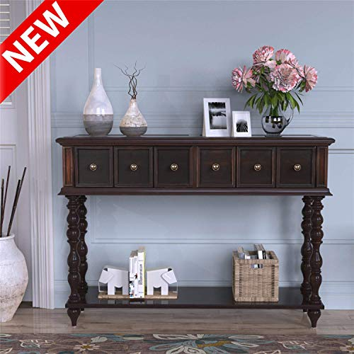 """LEEKOUS Luxurious Console Table for Entryway, Best 48"""" Hallway Sofa Tables with Exquisite Storage Drawers and Shelves, Side Table, Antique-Inspired Thicken Solid Wooden Living Room Furniture(Espresso)"""