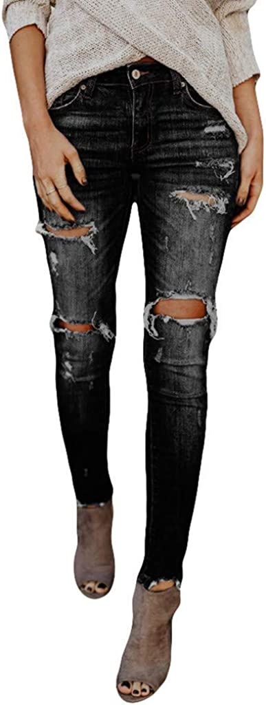 Women's Skinny Jeans Office Lady Hight Waisted Hole Distressed Denim Stretchy Slim Pants Calf Length Jeans