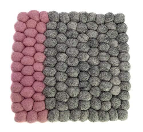 feelz - Untersetzer aus Filzkugeln quadratisch 20x20cm natur pastell rosa weiß blau Handarbeit Topfuntersetzer Wollfilz - Fairtrade (Natur/Rosé)