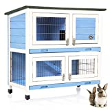 COZY PET Blue Rabbit Hutch/Hide/Run Guinea Pig House Ferret Cage Rabbit Hutches in Pink RH06BL (We do not ship to Northern Ireland, Scottish Highlands & Islands, Channel Islands, IOM or IOW.)