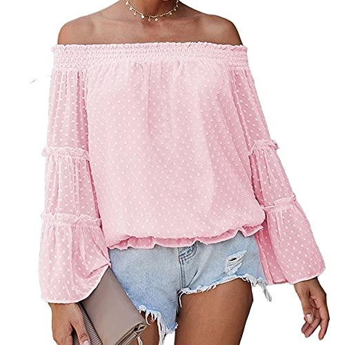 Mayntop Camiseta para mujer para tops de gasa con hombros descubiertos y manga acampanada, A-rosa, 48