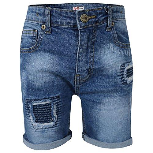 A2Z 4 Kids® Kinder Jungen Mädchen Kurze Hose Designer Mitte Blau Denim Zerrissene - Boys Denim Short Ripped Mid Blue_7-8