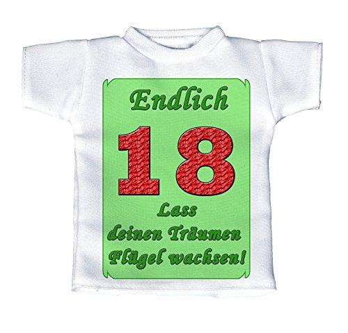 handmade-in-nb Mini T-Shirt, Flaschenshirt, Autofensterdekoration, Weiß Mit Aussagekräftigen Spruch Geburtstag – Endlich 18 – Lass Deinen Träumen Flügel Wachsen